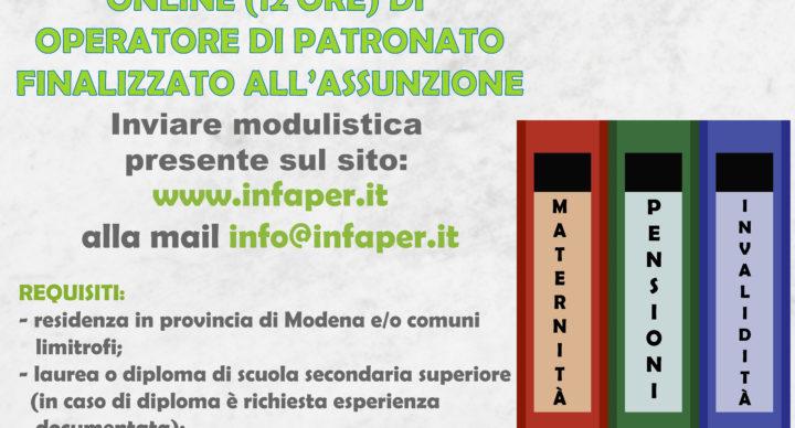 CORSO GRATUITO INTENSIVO ONLINE (12 ORE) OPERATORE DI PATRONATO  scadenza iscrizione 27/04/2020. allegare CV