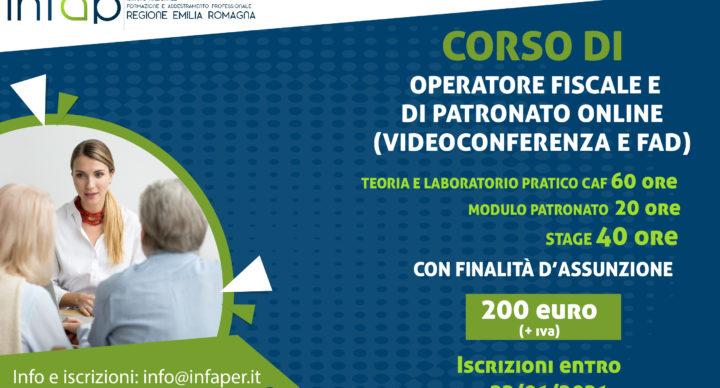 CORSO DI OPERATORE FISCALE E DI PATRONATO ONLINE (VIDEOCONFERENZA E FAD) - FINALIZZATO ALL'ASSUNZIONE
